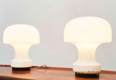 Glashütte Limburg mushroom table lamp round black metal base white opal glass lampshade 1970s Germany