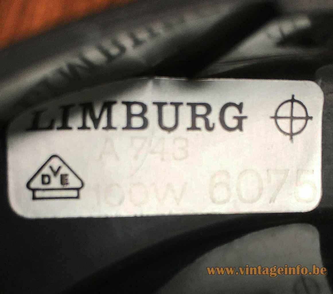 Glashütte Limburg mushroom table lamp rectangular paper label model: 6075 1970s Germany E27 socket