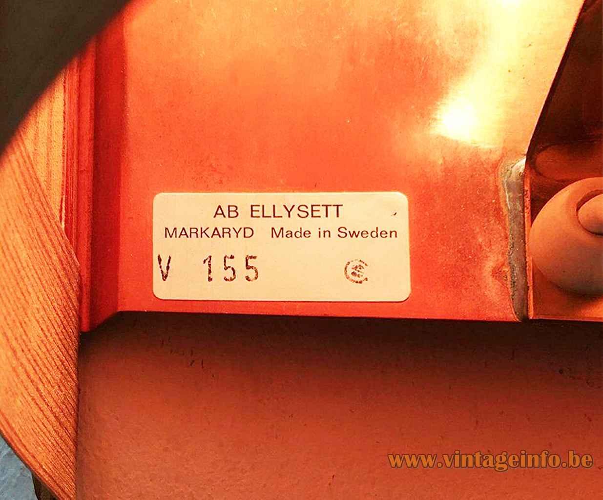 Hans-Agne Jakobsson Edda wall lamp rectangular paper label V155 AB Ellysett Sweden 1961 design E27 socket
