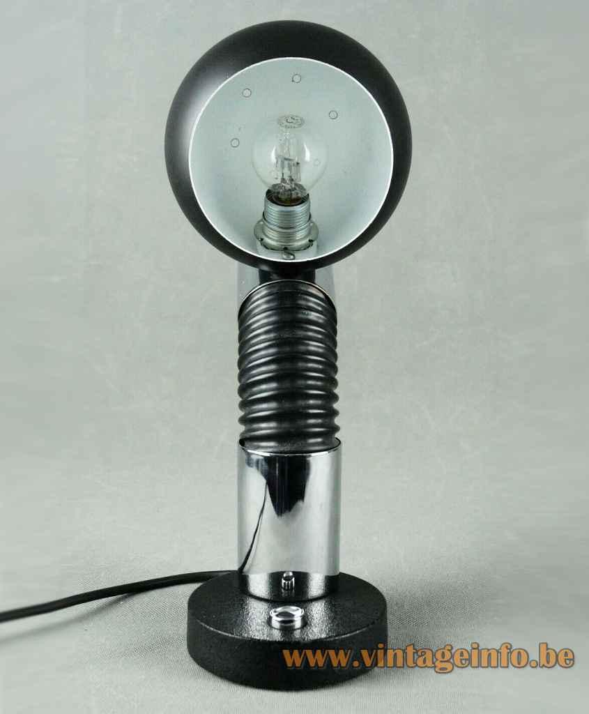 Hillebrand globe desk lamp round cast iron base chrome tube black flexible sphere lampshade 1970s Germany