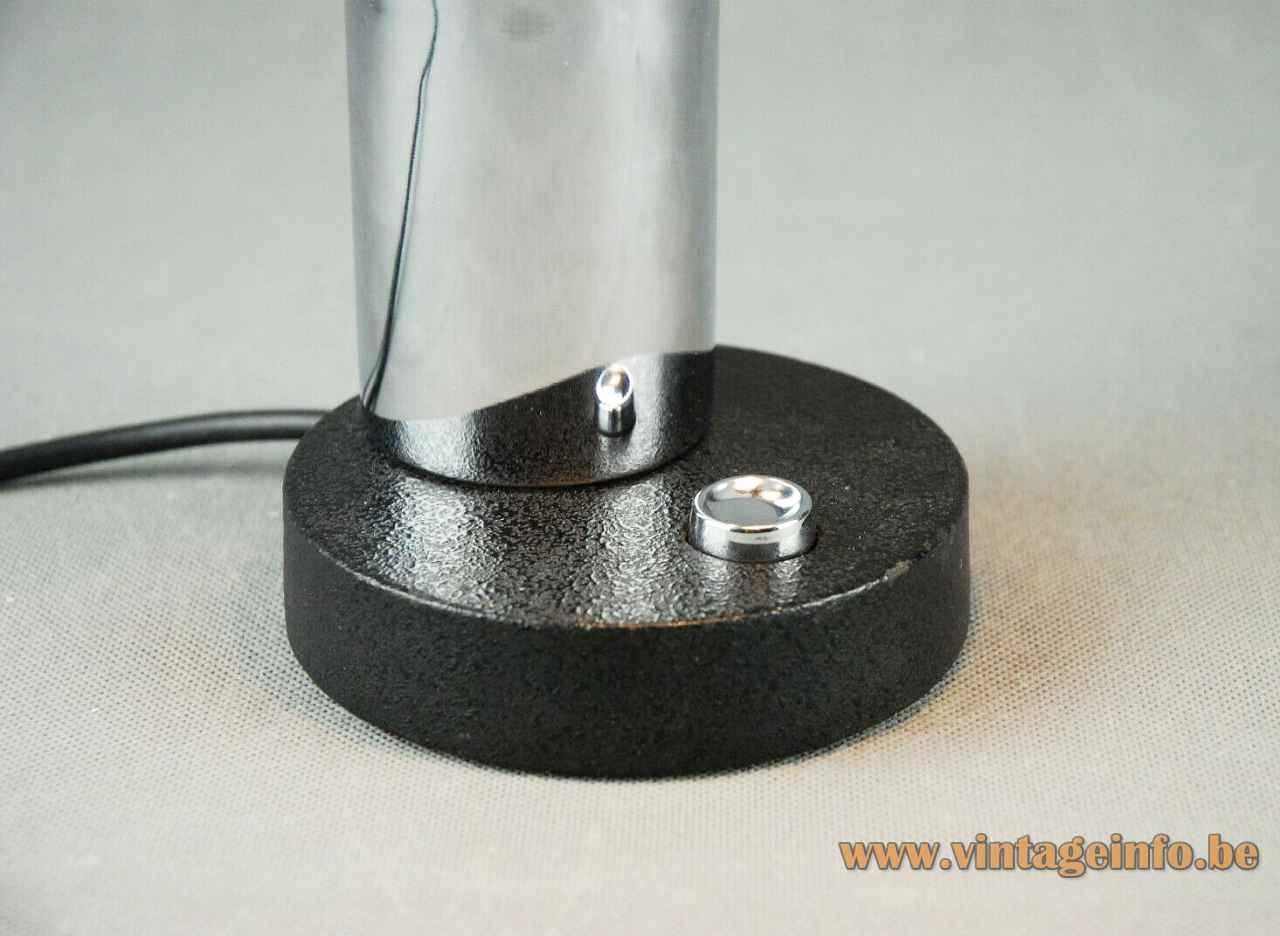 Hillebrand globe desk lamp round black cast iron base built-in switch chrome tube 1970s Germany