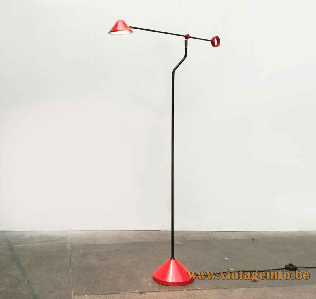 Honsel Leuchten 1980s floor lamp round conical base black rods red lampshade Memphis Milan Germany halogen