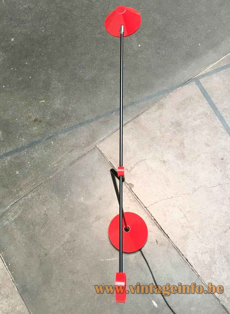 Honsel Leuchten 1980s floor lamp round conical base black rods red lampshade top view Germany halogen