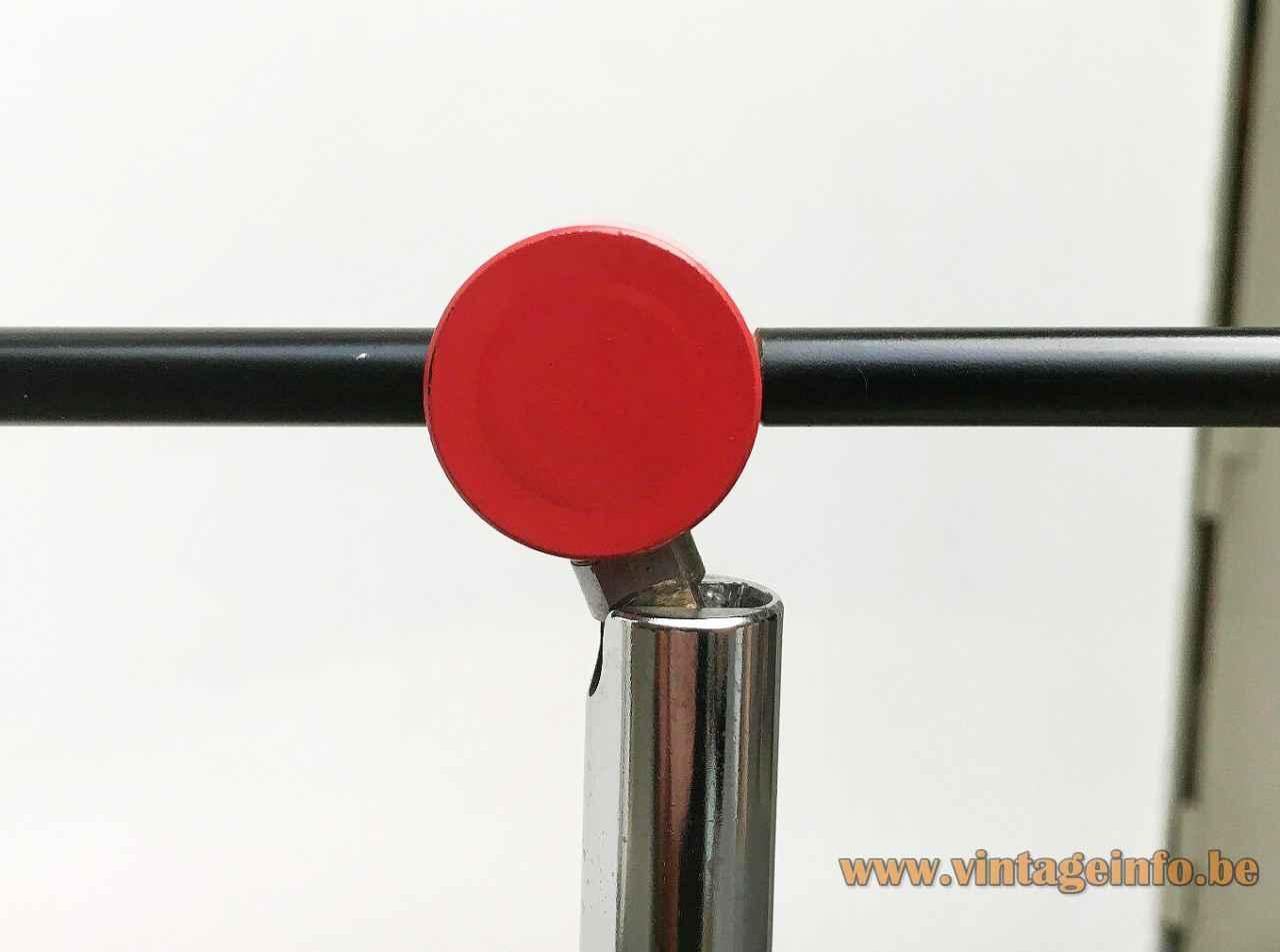 Honsel Leuchten 1980s floor lamp red metal disc chrome joint black rod Memphis Milan style Germany