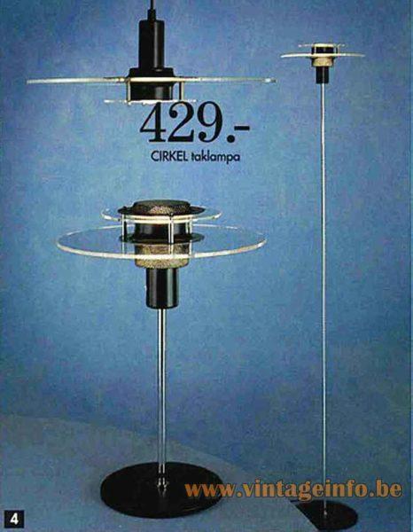 IKEA Cirkel table lamp 1993 catalogue picture model B8803 1990s