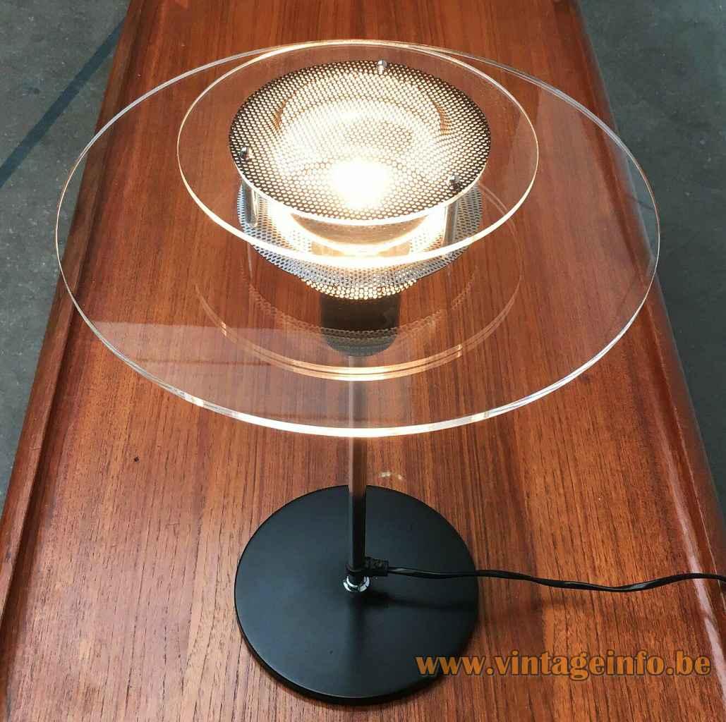 IKEA Cirkel table lamp B8803 round black base chrome rod 2 glass discs lampshade gauze 1990s