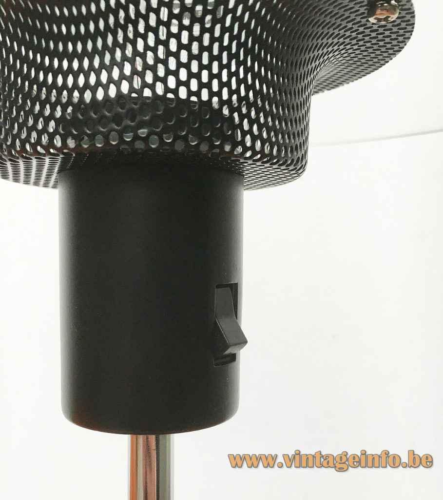IKEA Cirkel table lamp B8803 black tube & switch gauze diffuser 1990s E27 socket