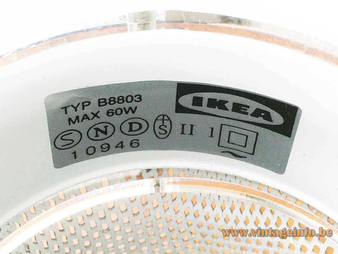 IKEA Cirkel table lamp B8803 label maximum 60 Watt 1990s