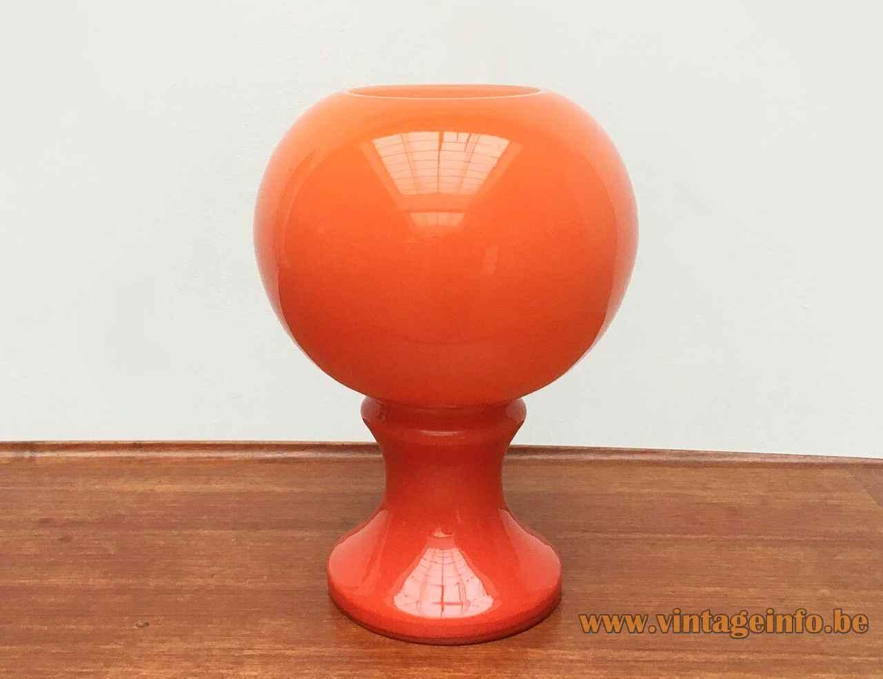 Ingo Maurer ML 32 table lamp 1967 design round orange base & globe lampshade Design M Germany