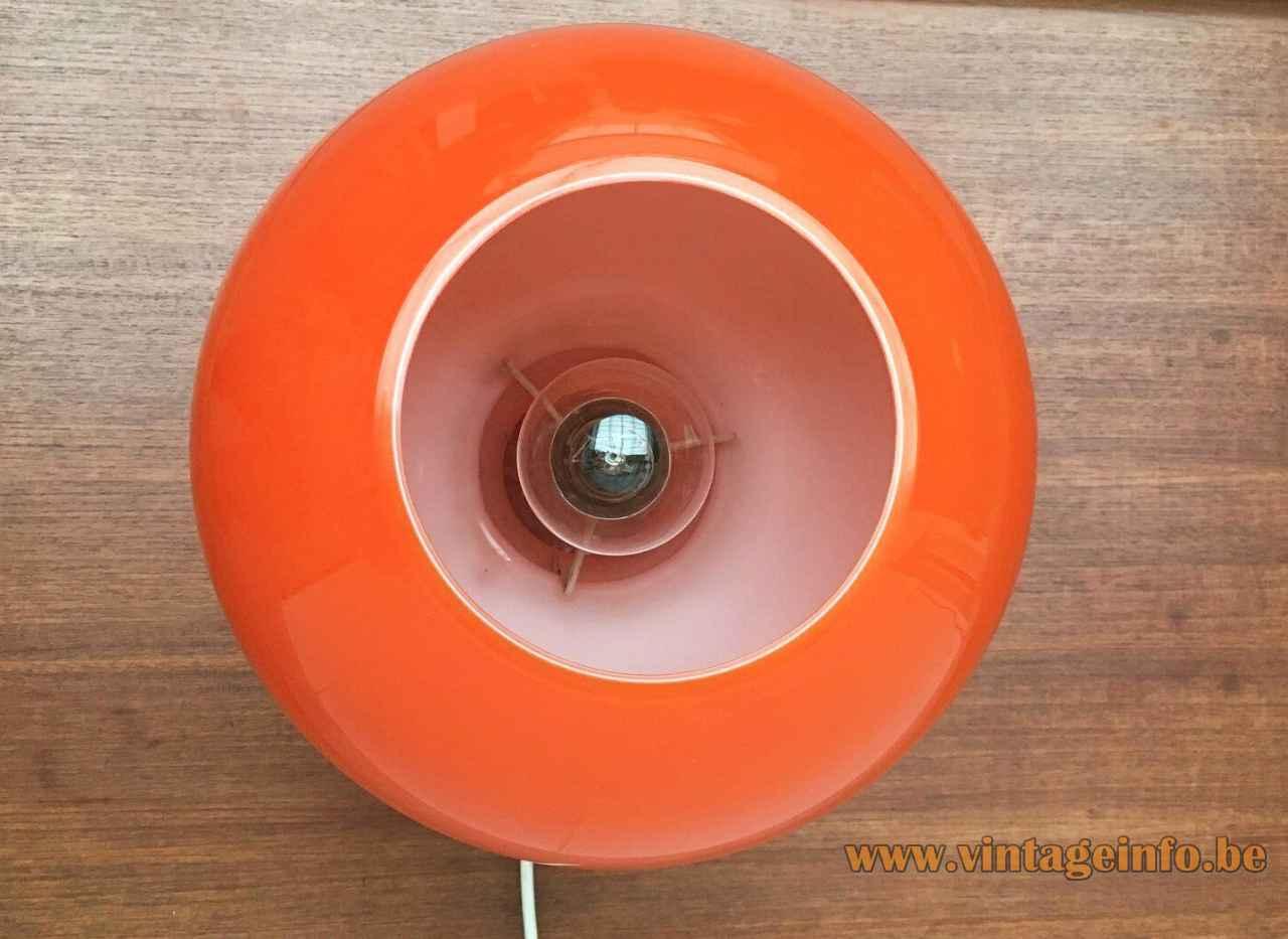 Ingo Maurer ML 32 table lamp hand blown globe lampshade top view Design M Germany 1960s