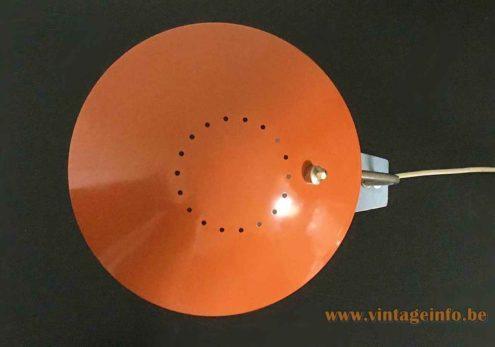 Kaiser Leuchten 6840 desk lamp round orange mushroom lampshade perforate round holes circle top view