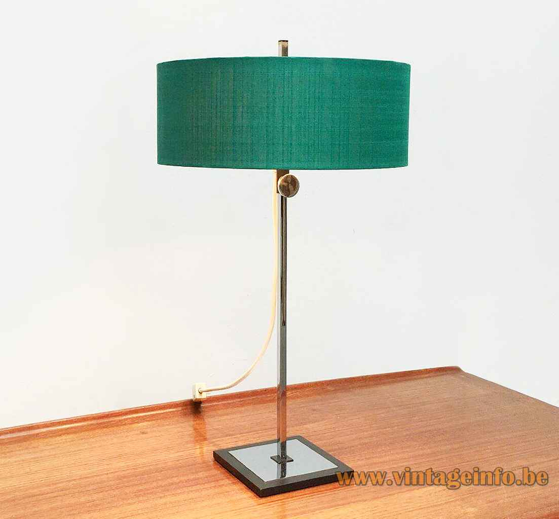 Kaiser Leuchten adjustable table lamp 45167 square chrome base & rod round turquoise fabric lampshade 1970s Germany