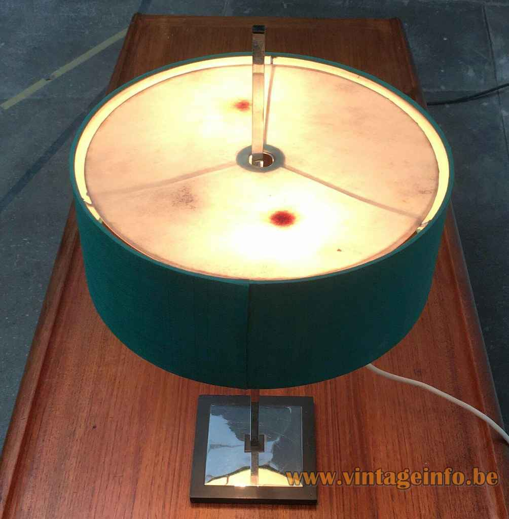 Kaiser Leuchten adjustable table lamp 45167 square chrome base & rod round turquoise fabric lampshade top view
