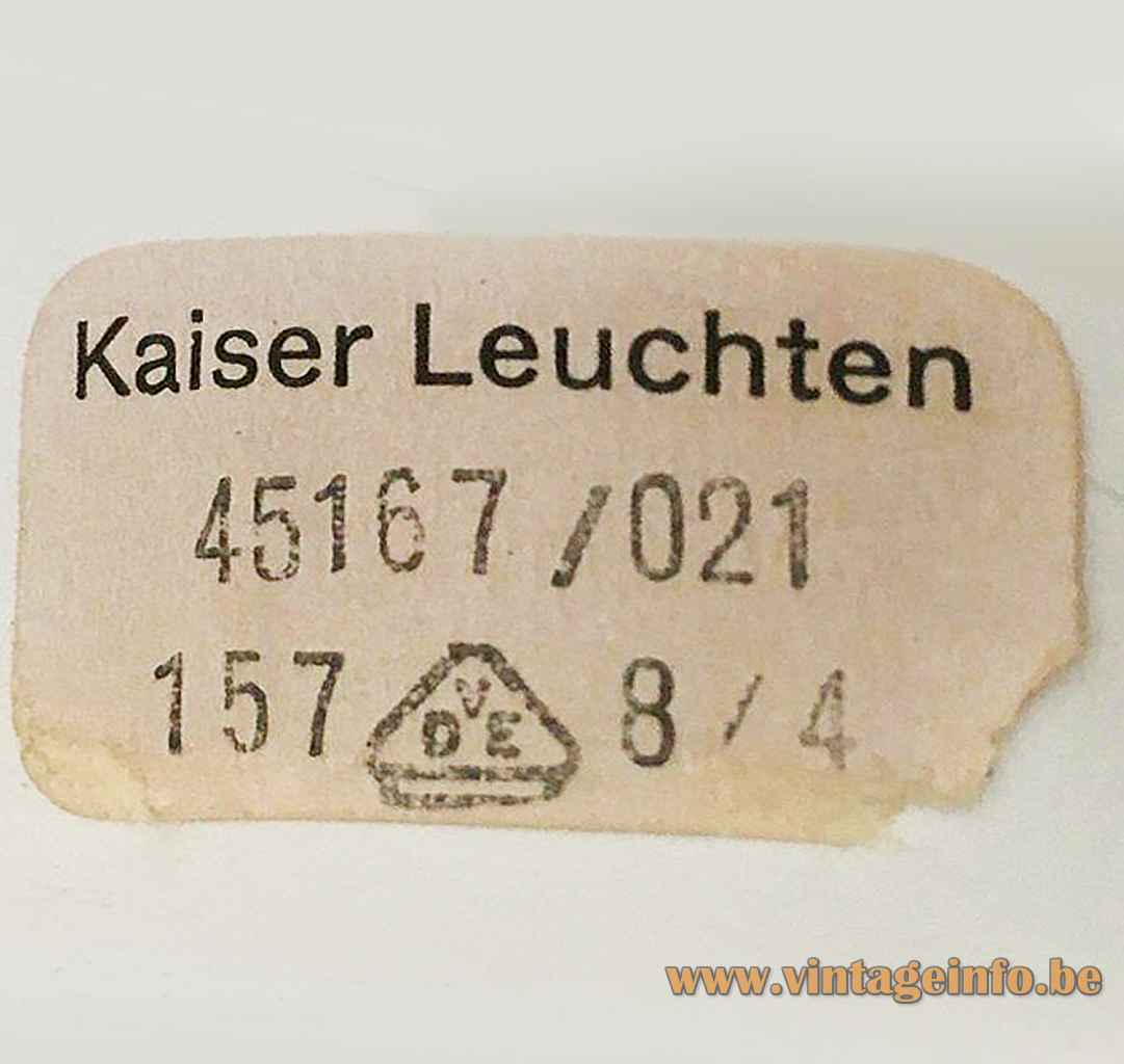 Kaiser Leuchten adjustable table lamp 45167 paper label 1970s Germany