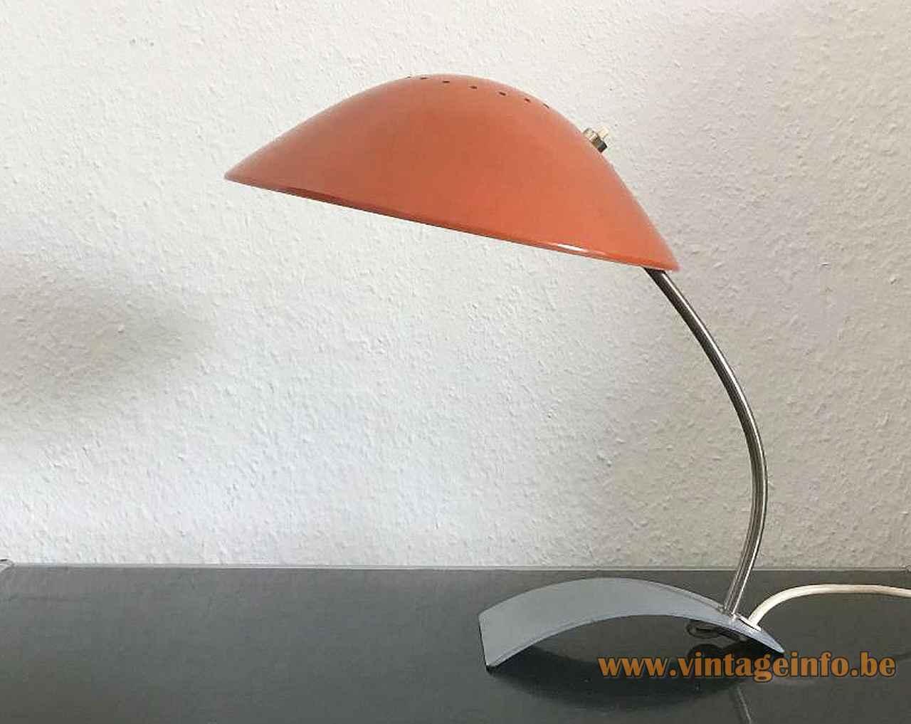 Kaiser Leuchten desk lamp 6840 curved metal base chrome rod round mushroom lampshade 1960s 1970s Germany
