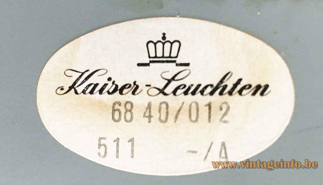 Kaiser Leuchten desk lamp 6840 oval paper label 1960s 1970s Germany