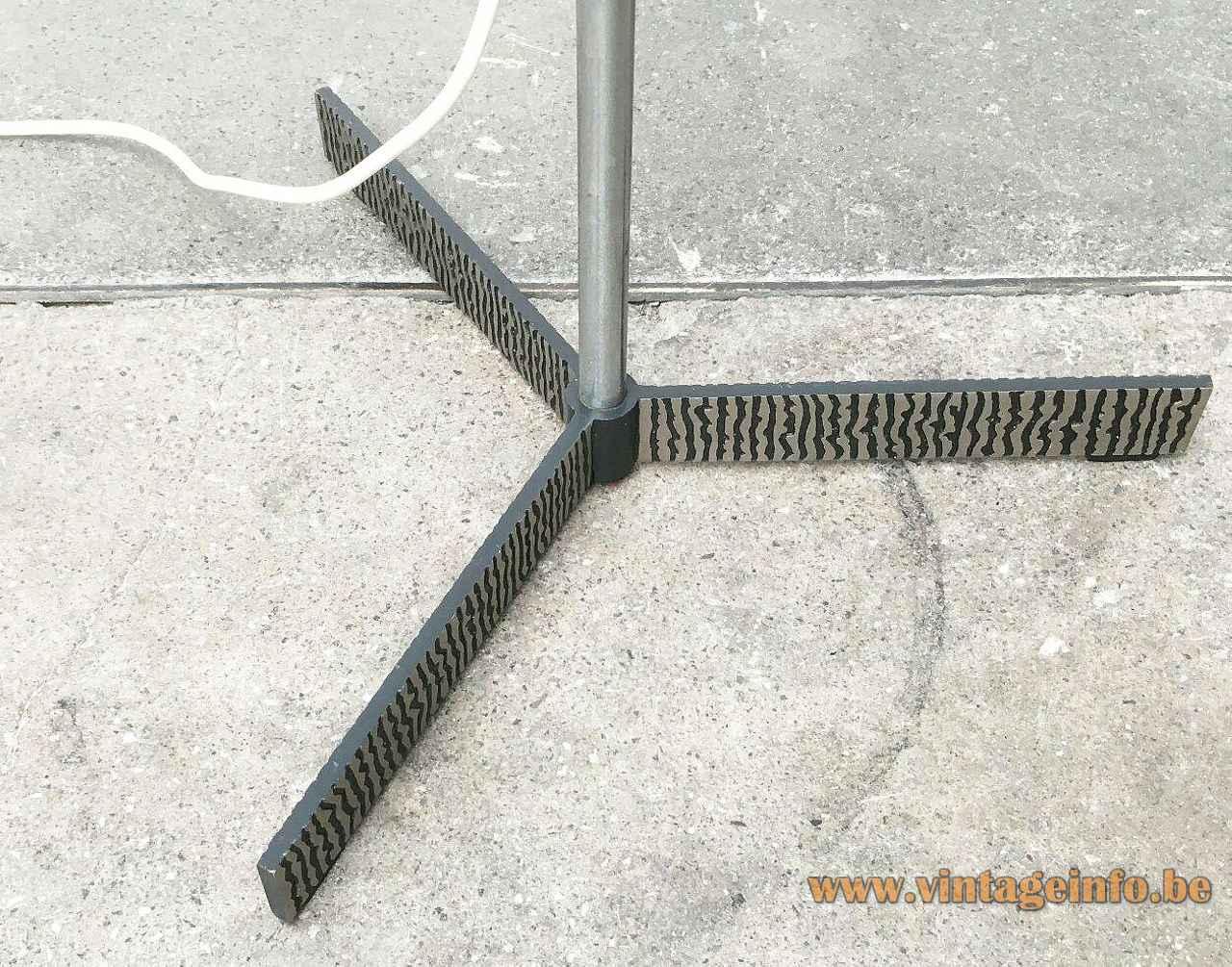 Kaiser Leuchten fibreglass floor lamp eteched embossed blackened metal tripod base 1960s Germany