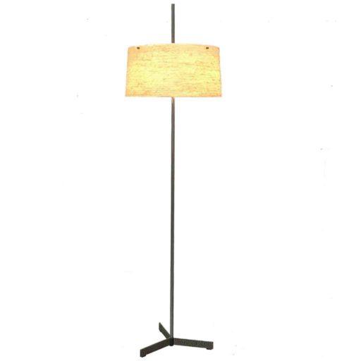 Kaiser Leuchten fibreglass floor lamp metal tripod base chrome rod adjustable round yellow lampshade 1960s Germany