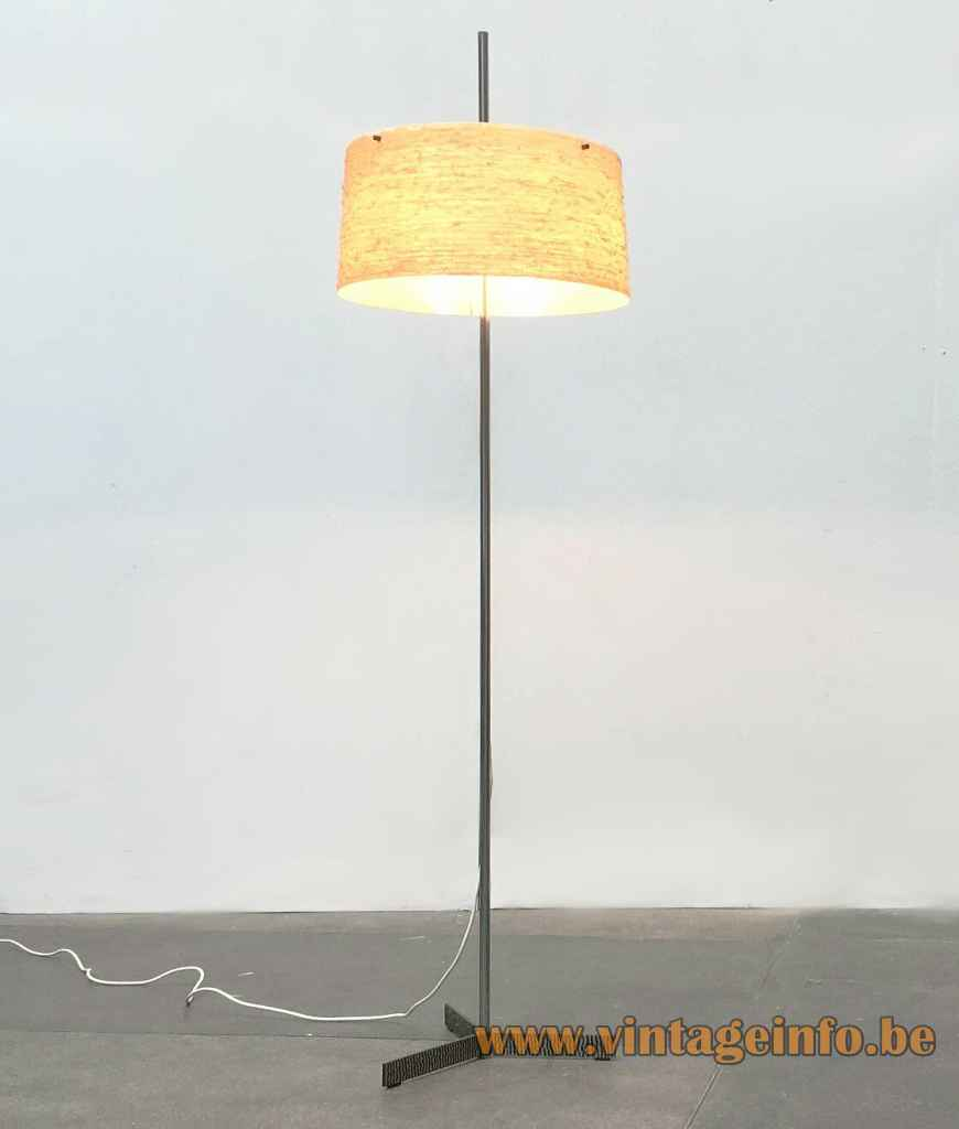 Kaiser Leuchten fibreglass floor lamp metal tripod base chrome rod adjustable round yellow lampshade 1960s Germany