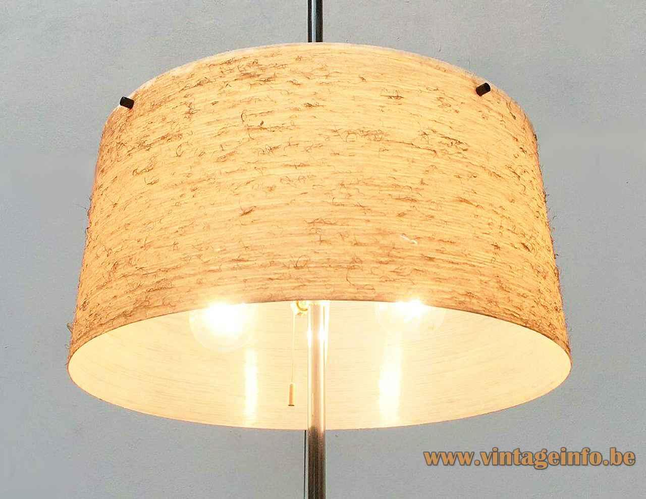 Kaiser Leuchten fibreglass floor lamp adjustable round yellow lampshade 2 E27 sockets 1960s Germany