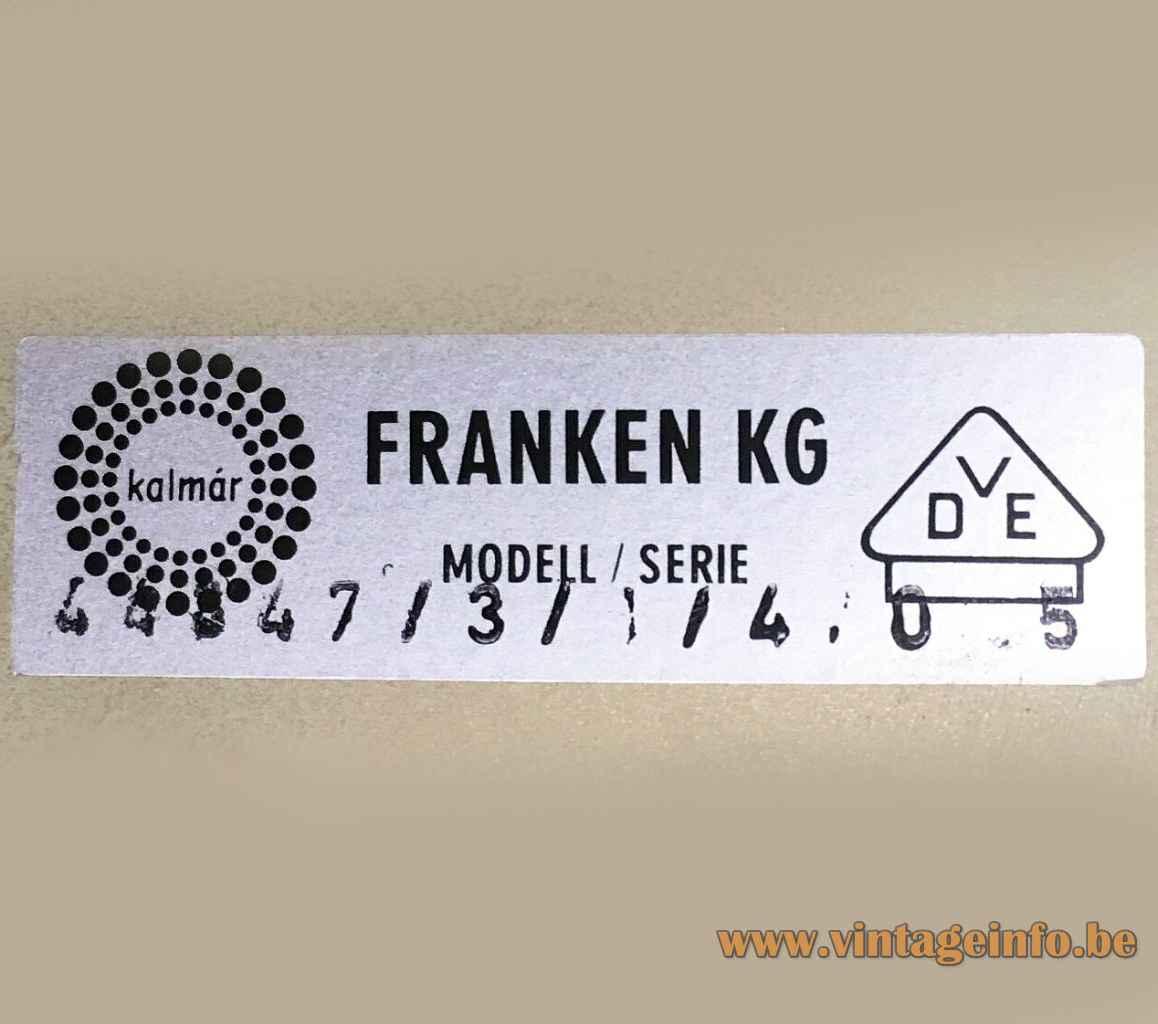 Kalmar Kreuzenstein wall lamp rectangular label & logo 44847 1960s 1970s Kalmar Franken Austria
