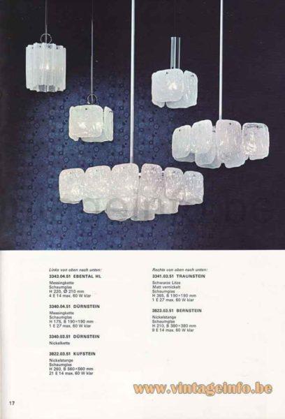 Kalmar Kreuzenstein Wall Lamp - Pendant Lamps, Chandelier - Kalmar Franken 1974 Catalogue Picture