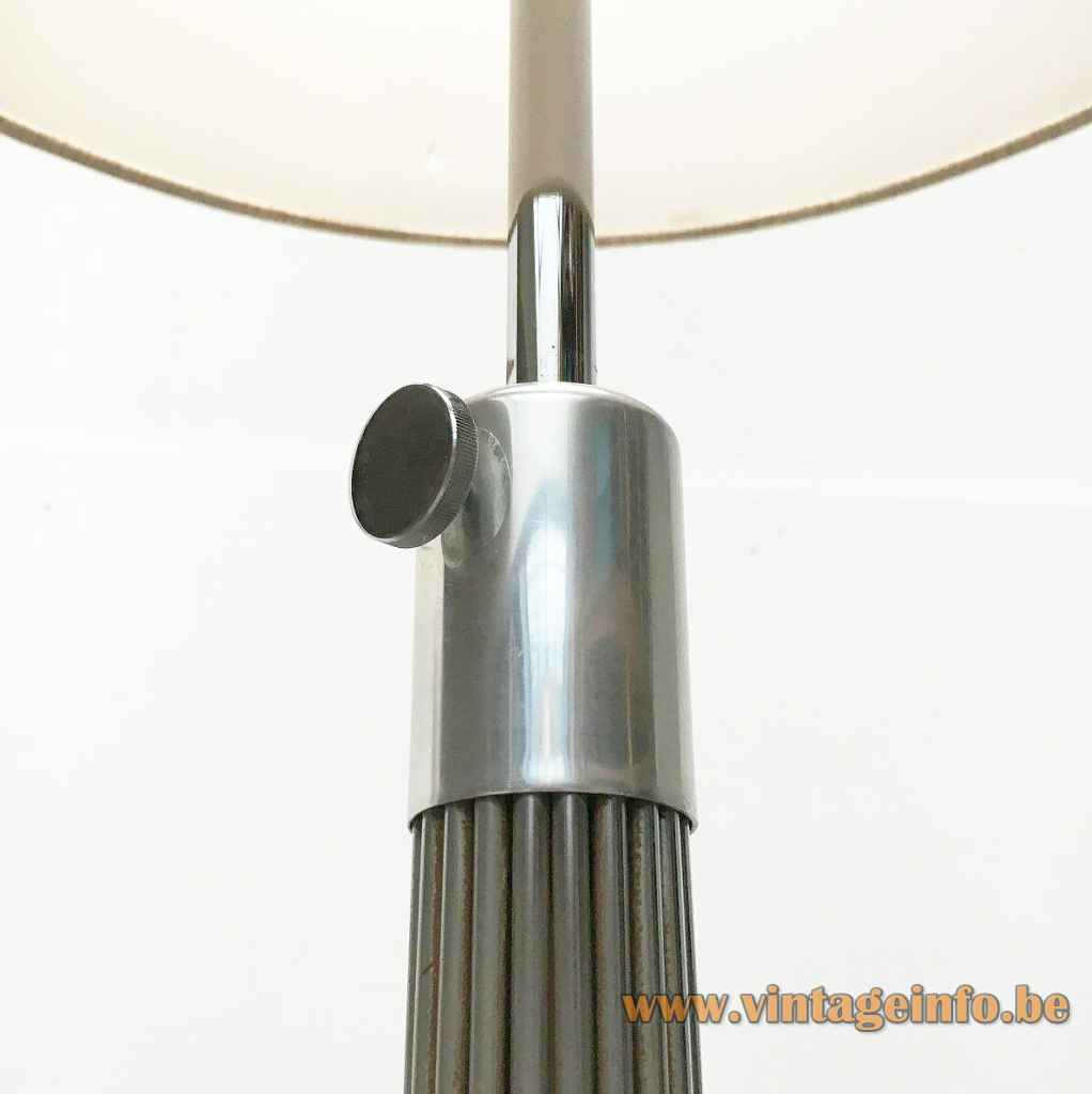 Kinkeldey chrome wire floor lamp ornamental adjustment screw 1960s 1970s Germany no Verner Panton