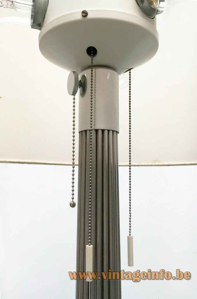 Kinkeldey chrome wire floor lamp ornamental adjustment screw pull cord switches 1960s 1970s Germany