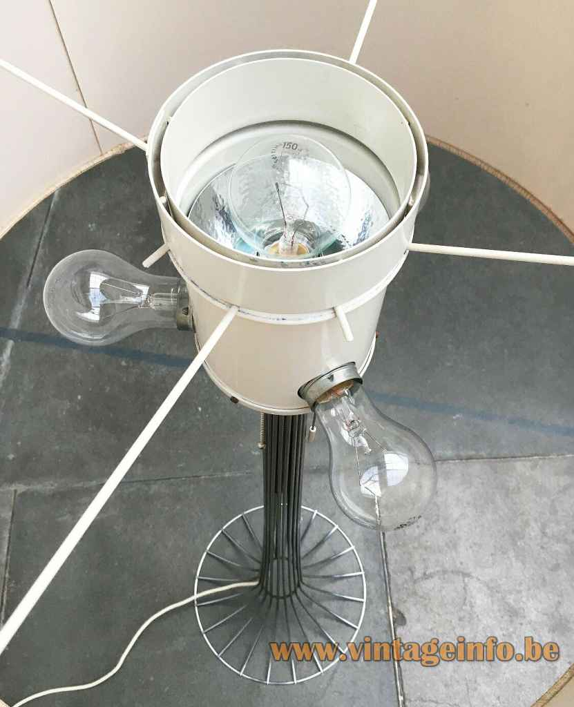 Kinkeldey chrome wire floor lamp top view 4 E27 sockets aluminium reflector 1960s 1970s Germany