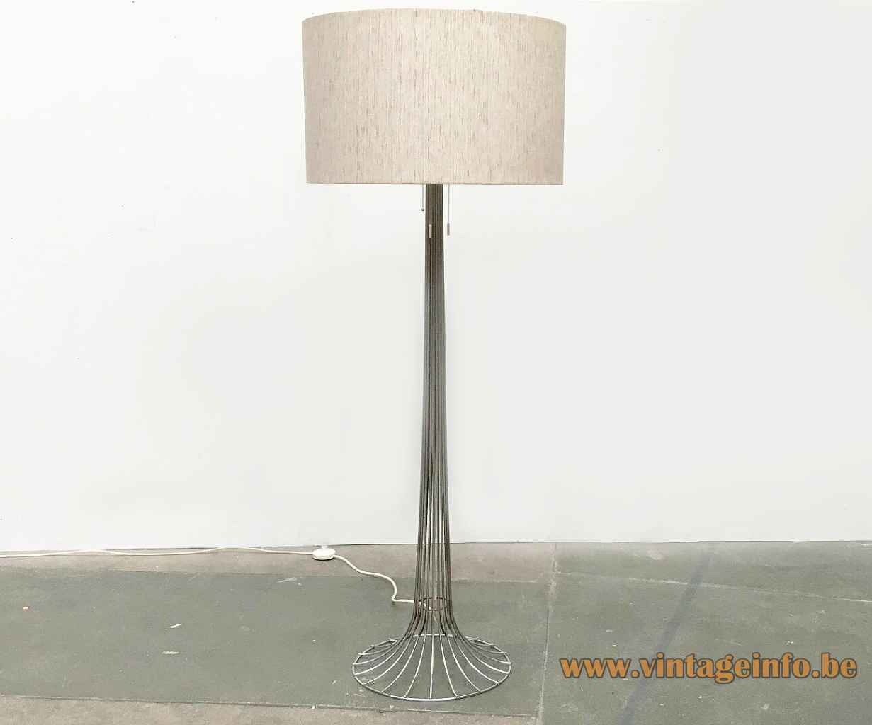 Kinkeldey chrome wire floor lamp round base fabric lampshade 4 E27 sockets 1960s 1970s Germany