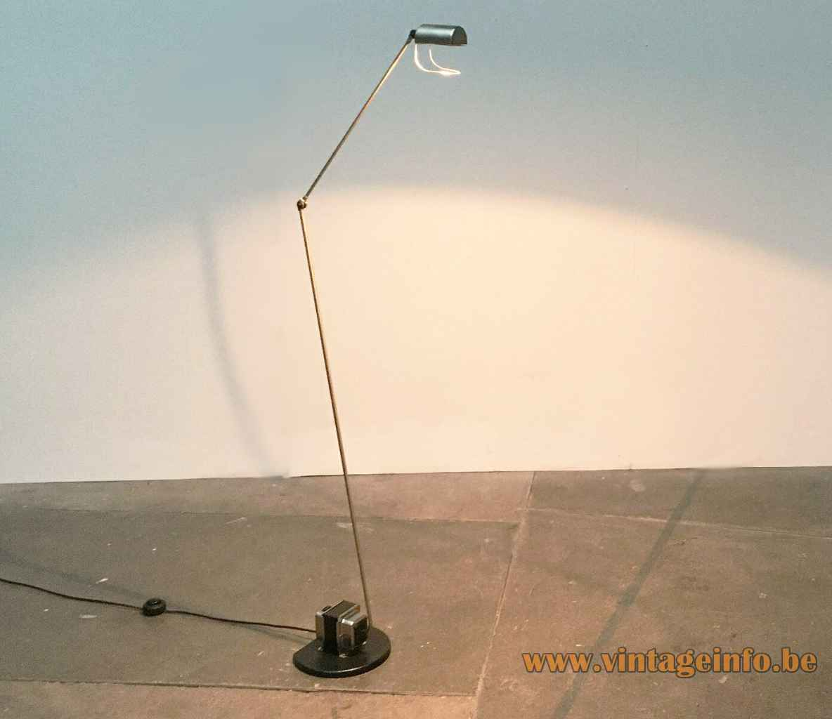 Lumina Daphine floor lamp cast iron base & transformer 2 long rods half round lampshade 1970s Italy