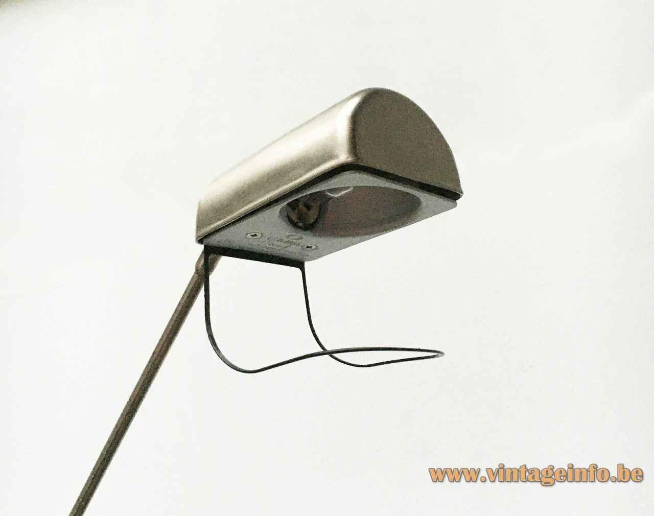 Lumina Daphine floor lamp half round metal lampshade & handle 1970s Italy design: Tommaso Cimini
