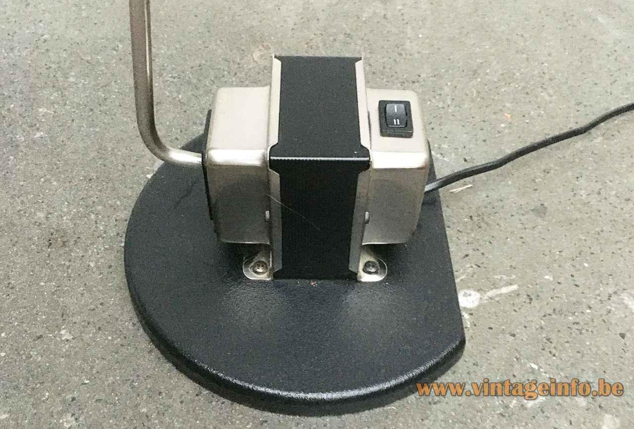Lumina Daphine floor lamp black cast iron base & transformer 1975 design: Tommaso Cimini Italy