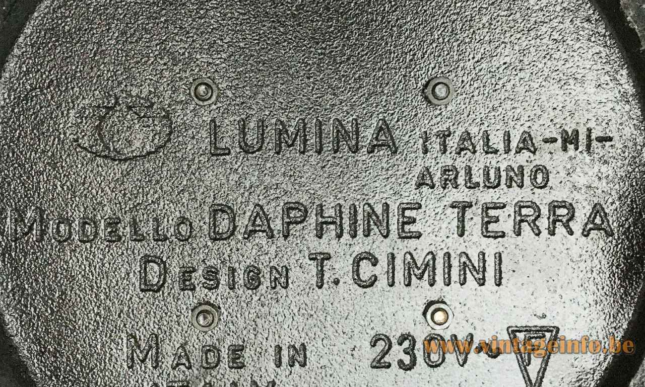Lumina Daphine floor lamp cast iron base bottom label logo 1970s Italy design: Tommaso Cimini