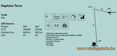 Lumina Daphine Floor Lamp - Catalogue Pictures LED - Dimensions