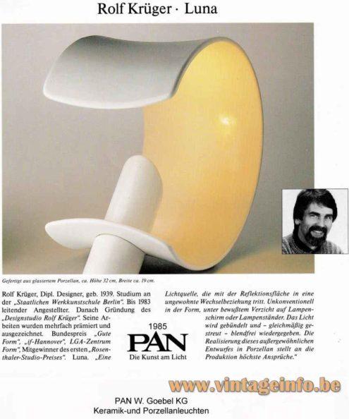 Luna Table Lamp - 1985 Rolf Krüger Design - PAN - W. Goebel KG