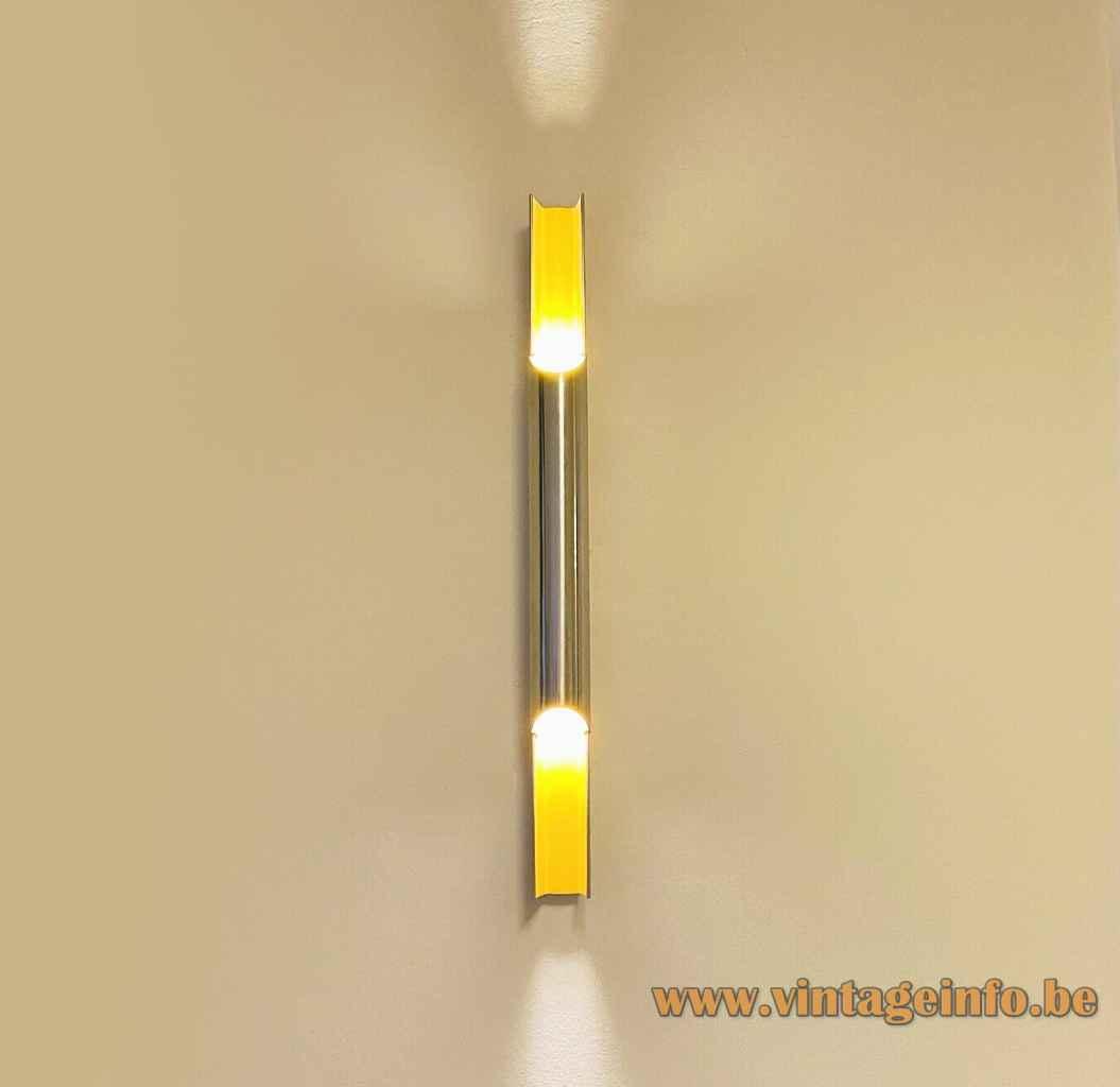 Lyfa Pan-Opticon wall lamp long aluminium tube lampshade yellow inside 1970s design: Bent Karlby Denmark