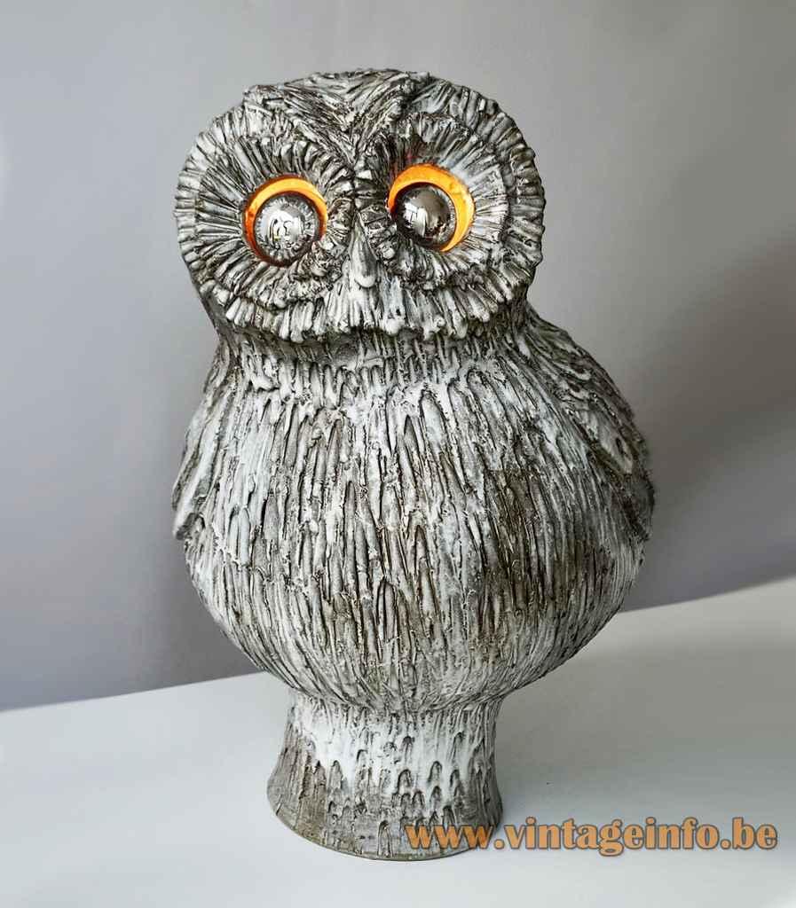 Marius Bessone ceramic owl table lamp grey glazed bird lampshade 1950s 1960s Vallauris France E14 sockets