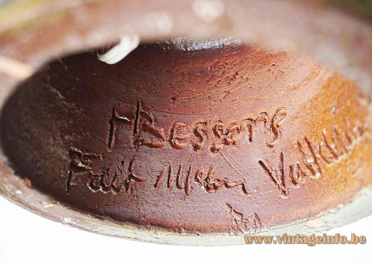 Marius Bessone ceramic owl table lamp signature inside 1950s 1960s Vallauris France dark red clay