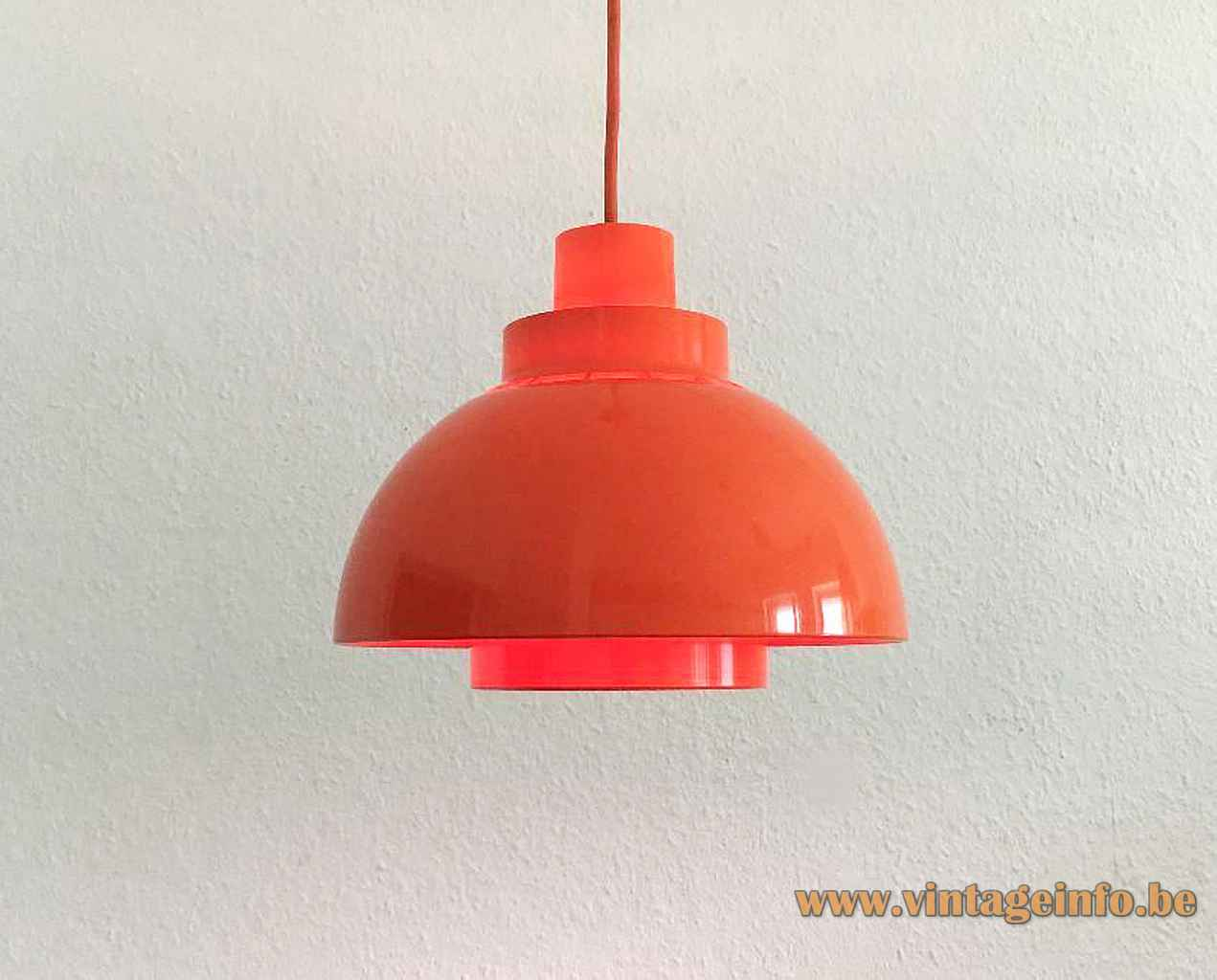 Nordisk Solar Minisol pendant lamp orange plastic mushroom lampshade 1960s design: K. Kewo Denmark E27 socket