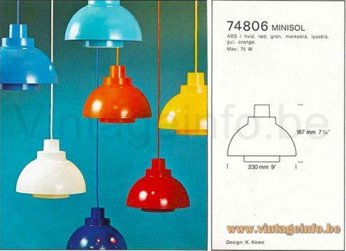 Nordisk Solar Minisol Pendant Lamp - 1960s Catalogue Picture