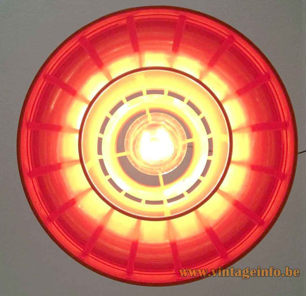 Nordisk Solar Minisol pendant lamp orange plastic mushroom lampshade 1960s design: K. Kewo Denmark inside view