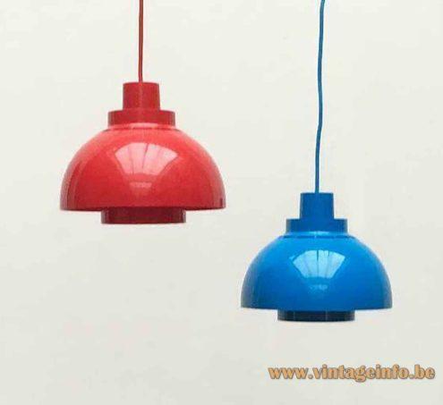 Nordisk Solar Minisol pendant lamp red & blue version 1960s design: K. Kewo, Denmark E27 sockets