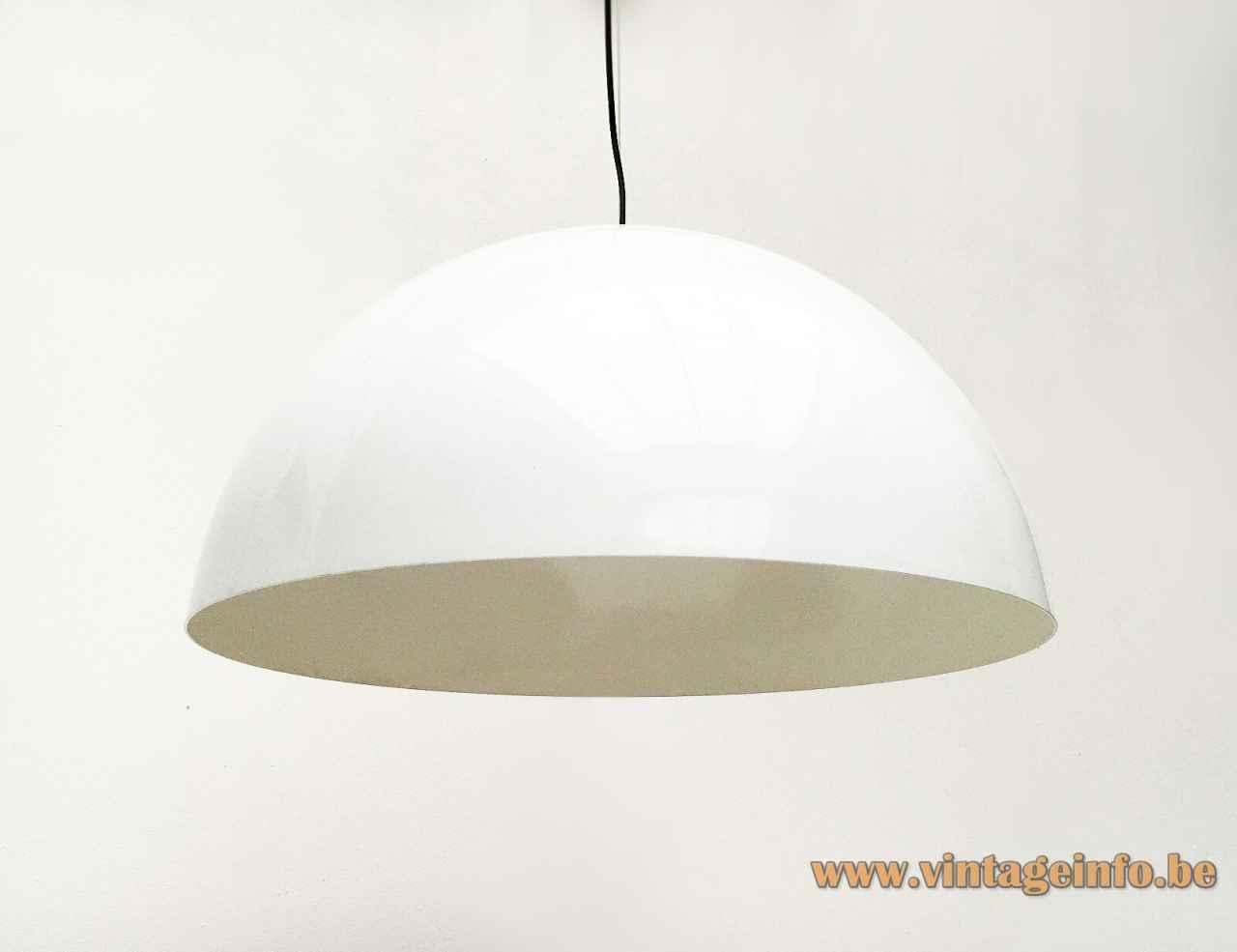Oluce Sonora pendant lamp white aluminium half globe mushroom lampshade design: Vico Magistretti Italy E27 sockets