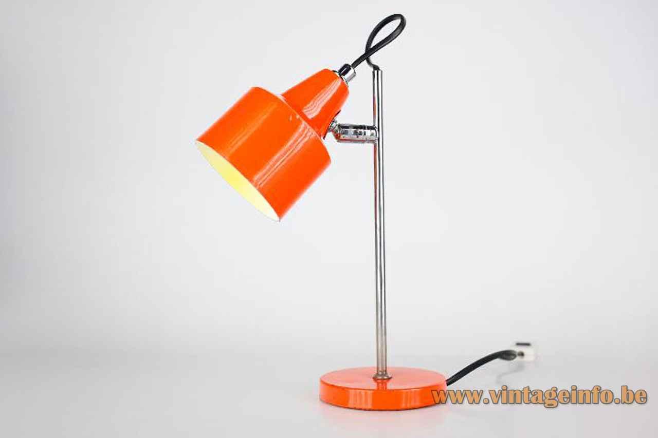 Orange Delmas desk lamp round metal base chrome rod adjustable aluminium lampshade 1970s France E27 socket