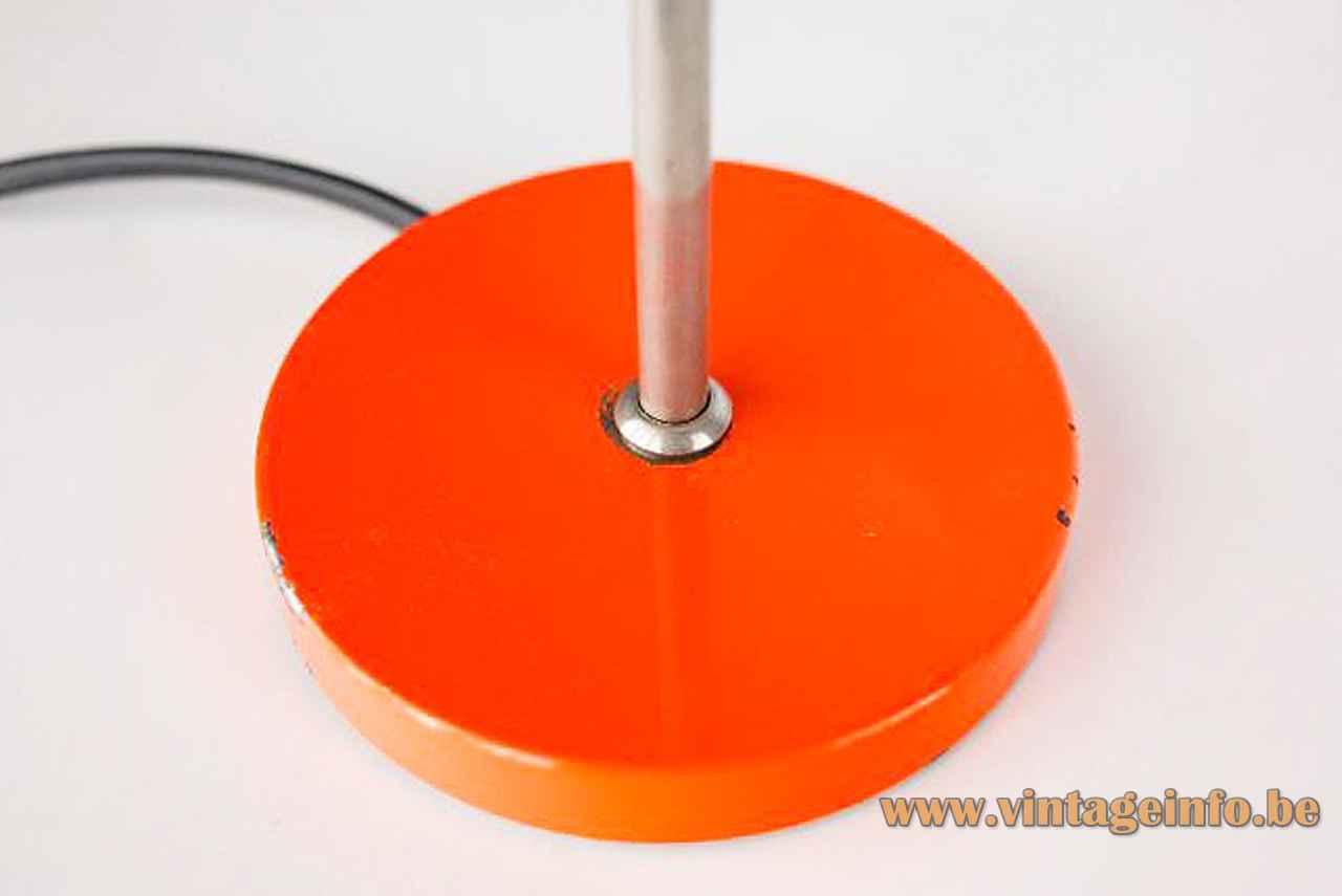 Orange Delmas desk lamp round metal base chrome rod 1970s France
