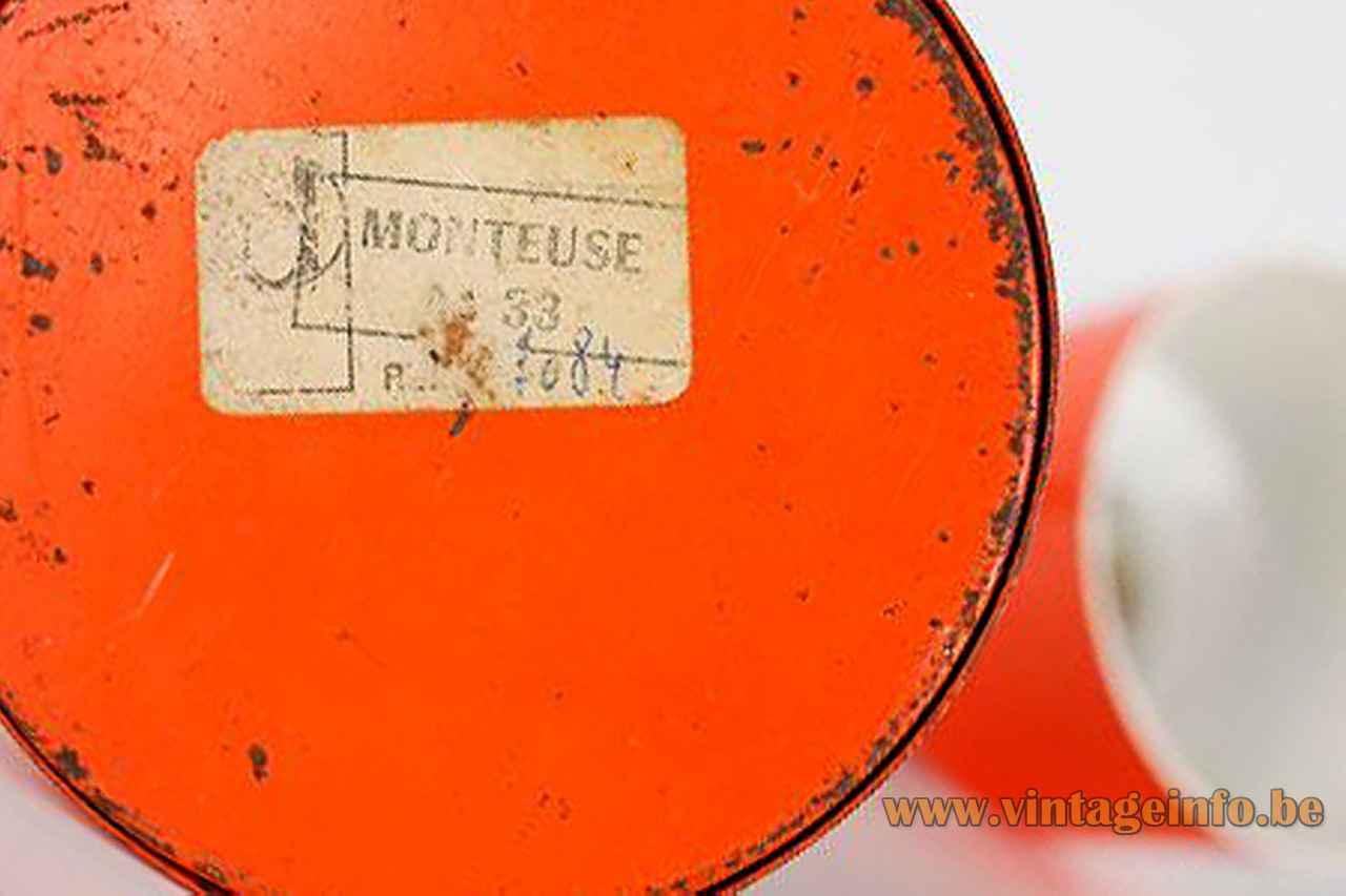 Orange Delmas desk lamp round metal base bottom monteuse 33 label logo 1970s France no Disdederot