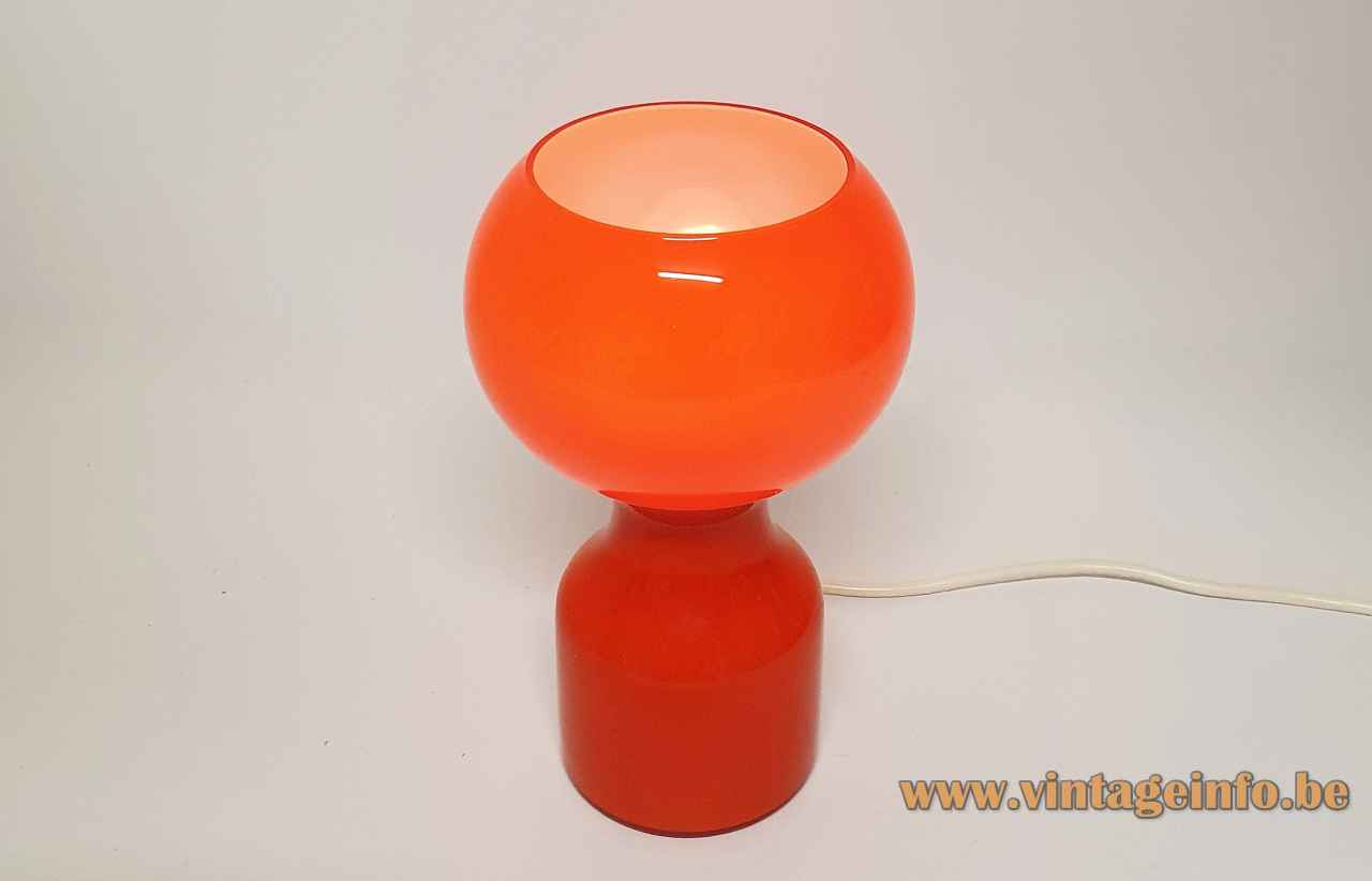 Philips Tahiti table lamp Tobrouk 1960s design: Jean-Paul Emonds-Alt round base orange glas globe lampshade 1970s