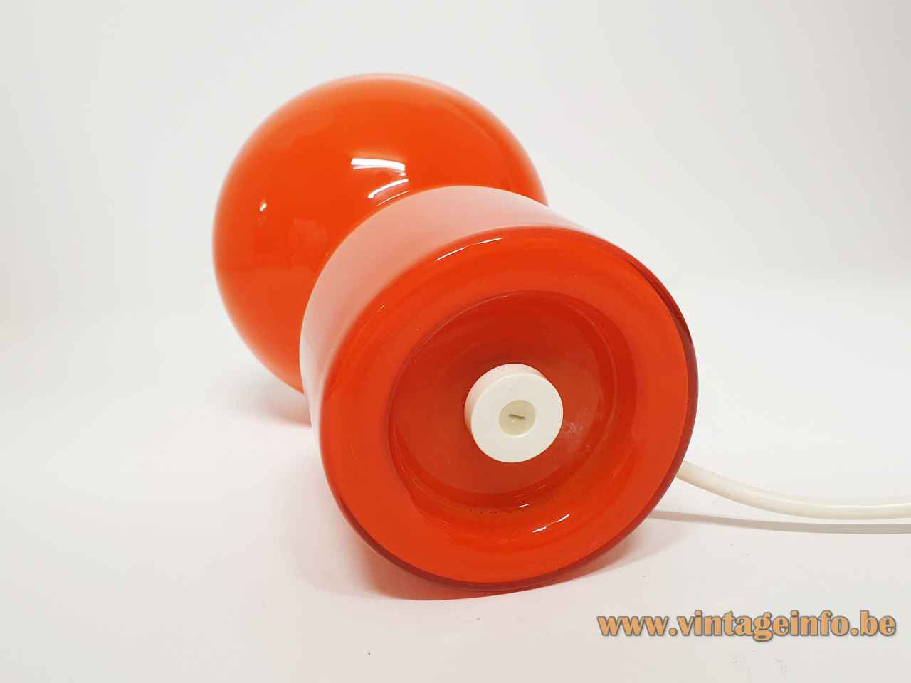 Philips Tahiti table lamp Tobrouk 1960s design: Jean-Paul Emonds-Alt round base orange glas globe lampshade bottom
