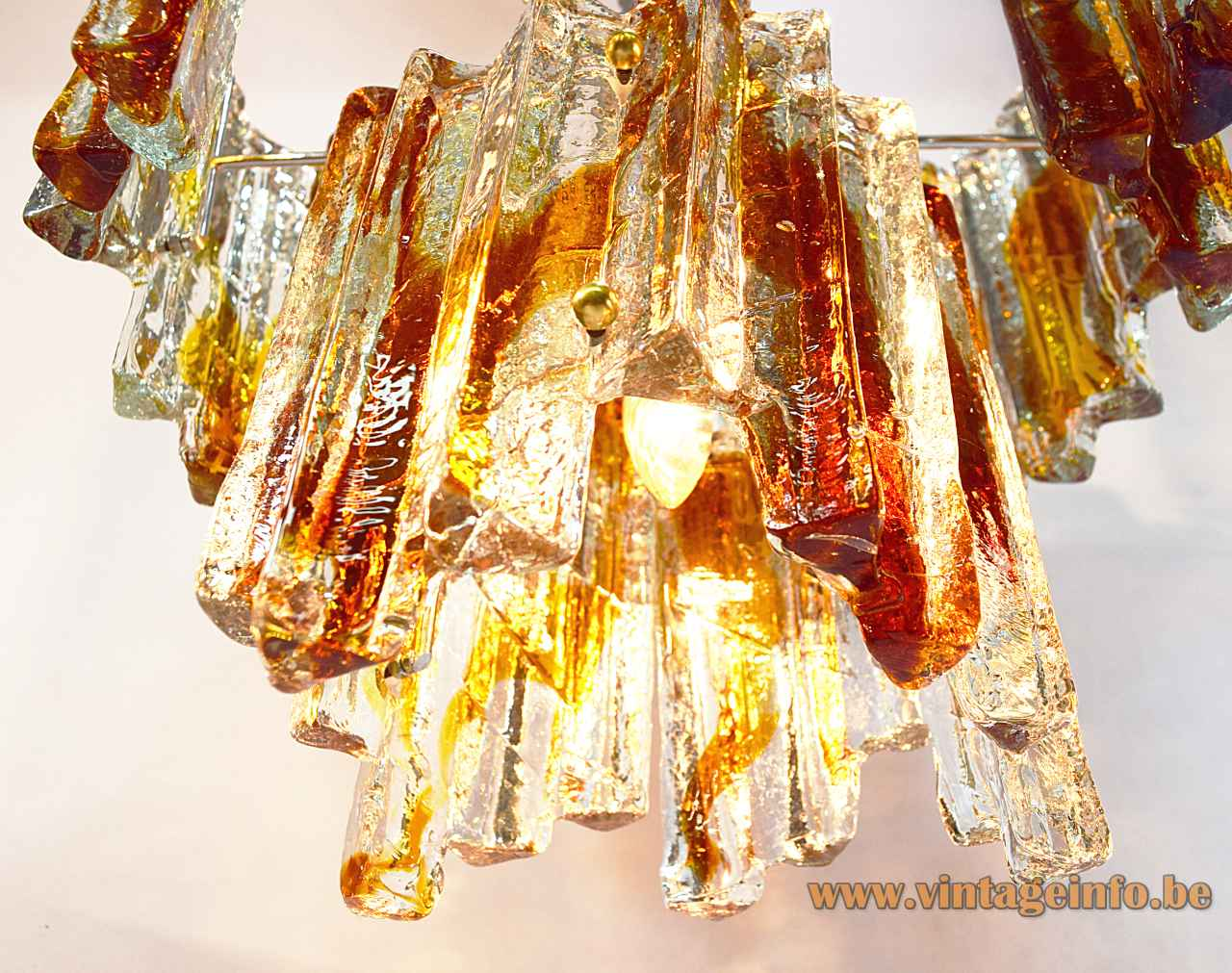 Poliarte ice block chandelier design: Albano Poli clear & amber glass lampshade metal wireframe & chain 1970s Italy